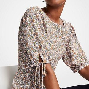 Ann Taylor Square Neck Tie Sleeve Blouse